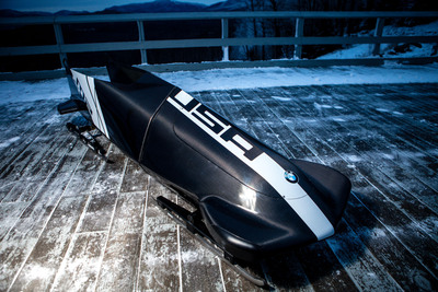 The U.S. Men's Bobsled Team will race a new, BMW-designed two-man bobsled at this weekend's FIBT World Cup in Igls, Austria.  (PRNewsFoto/BMW of North America, LLC, Todd Bissonette)