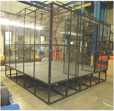 Growing interest in the Southwestern Pennsylvania BotsIQ program necessitated a second arena to use for the bots competitions. The new arena is approximately 12.5 feet square, features a steel floor and is encased in half-inch-thick Makrolon(R) 15 polycarbonate sheet connected with steel supports. (PRNewsFoto/Bayer MaterialScience LLC)