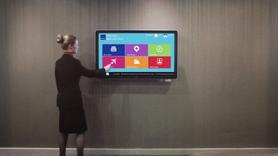The Novotel Virtual Concierge includes a custom-designed, guest facing interface on a state-of-the-art digital touch screen display that features hotel amenities, local information and recommendations, maps and directions, events and activities, weather, flight information, social postcards and other guest service features.(PRNewsFoto/Monscierge, LLC)