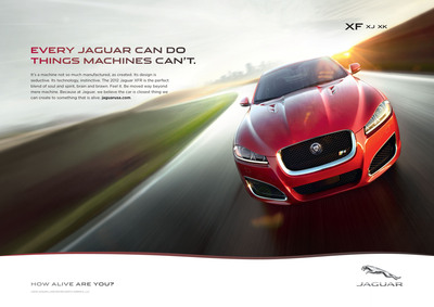 """Jaguar's new global marketing campaign, """"ALIVE,"""" launches on February 27.  It features provocative prints ads that capitalize on the cars' emotional pull and ask consumers, """"How alive are you?"""".  (PRNewsFoto/Jaguar North America)"""