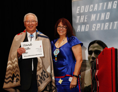 Dr. David Yarlott, President of Little Big Horn College, Crow Agency, Mont., honored by American Indian College Fund with College Fund President Cheryl Crazy Bull. Dr. Yarlott received the 2016 American Indian College Fund Tribal College Honoree of the Year award for his leadership.