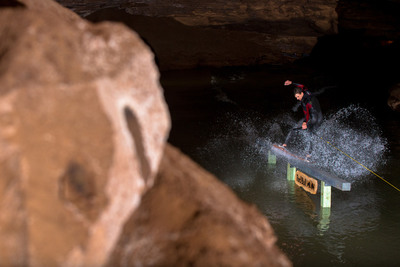 Red Bull Winch Sessions Headed to Lost River Cave in Kentucky for Underground Wakeskating.  (PRNewsFoto/Red Bull)