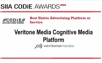 Veritone Media was named the best Native Advertising Platform or Service of 2016 as part of the 2016 SIIA CODiE Award.