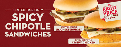 Wendy's spices up its Right Price Right Size Menu(tm) with two new zesty choices: the Spicy Chipotle Crispy Chicken Sandwich and the Spicy Chipotle Jr. Cheeseburger. Available for a limited time, both 99-cent heat-seeking additions feature a unique taste you can't find in quick service - including melted Pepper Jack Cheese, zesty jalapenos and a signature spicy sauce on top of juicy beef or a crispy chicken fillet. (PRNewsFoto/The Wendy's Company) (PRNewsFoto/THE WENDY'S COMPANY)