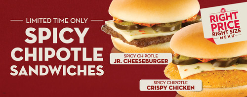 Wendy's spices up its Right Price Right Size Menu(tm) with two new zesty choices: the Spicy Chipotle Crispy Chicken Sandwich and the Spicy Chipotle Jr. Cheeseburger. Available for a limited time, both 99-cent heat-seeking additions feature a unique taste you can't find in quick service - including melted Pepper Jack Cheese, zesty jalapenos and a signature spicy sauce on top of juicy beef or a crispy chicken fillet.  (PRNewsFoto/The Wendy's Company)