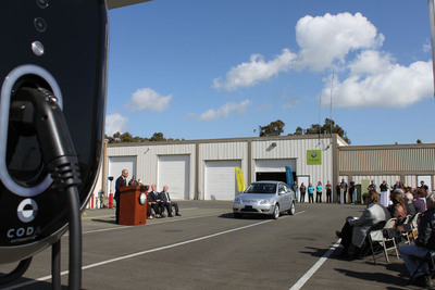 First CODA Automotive Customer Vehicle off the Line Ceremony.  (PRNewsFoto/CODA Automotive)