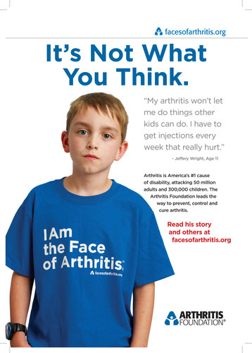 The Arthritis Foundation launched a public awareness campaign in conjunction with Arthritis Month this May to debunk the myths of arthritis. The Faces of Arthritis campaign features public service ads that focus on the harsh realities of arthritis and dispel the common stereotypes often associated with the disease. Learn more about arthritis and the Faces of Arthritis campaign at www.facesofarthritis.org.  (PRNewsFoto/Arthritis Foundation)