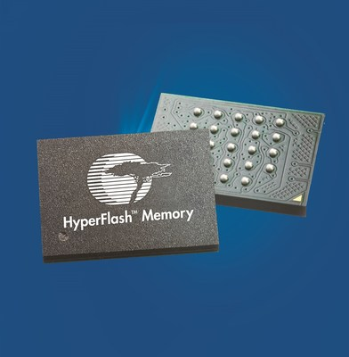 Pictured is Cypress Semiconductor's HyperFlash(TM) memory. Cypress has introduced a new 256Mb, 3.0V S26KL256S HyperFlash device, which is the latest addition to the industry's first NOR Flash memory family that supports the high-bandwidth, low-pin-count HyperBus(TM) interface. The device is ideal for high-performance applications, such as automotive instrument clusters, industrial automation, communication systems, and medical equipment, which need the highest read bandwidth to enable the fastest boot ...