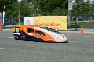 A prototype vehicle designed and built by University of Houston students take to the track at Shell Eco-marathon 2011. The team is currently gearing up for the 2012 event March 29 through April 1.  (PRNewsFoto/Shell Oil Company)
