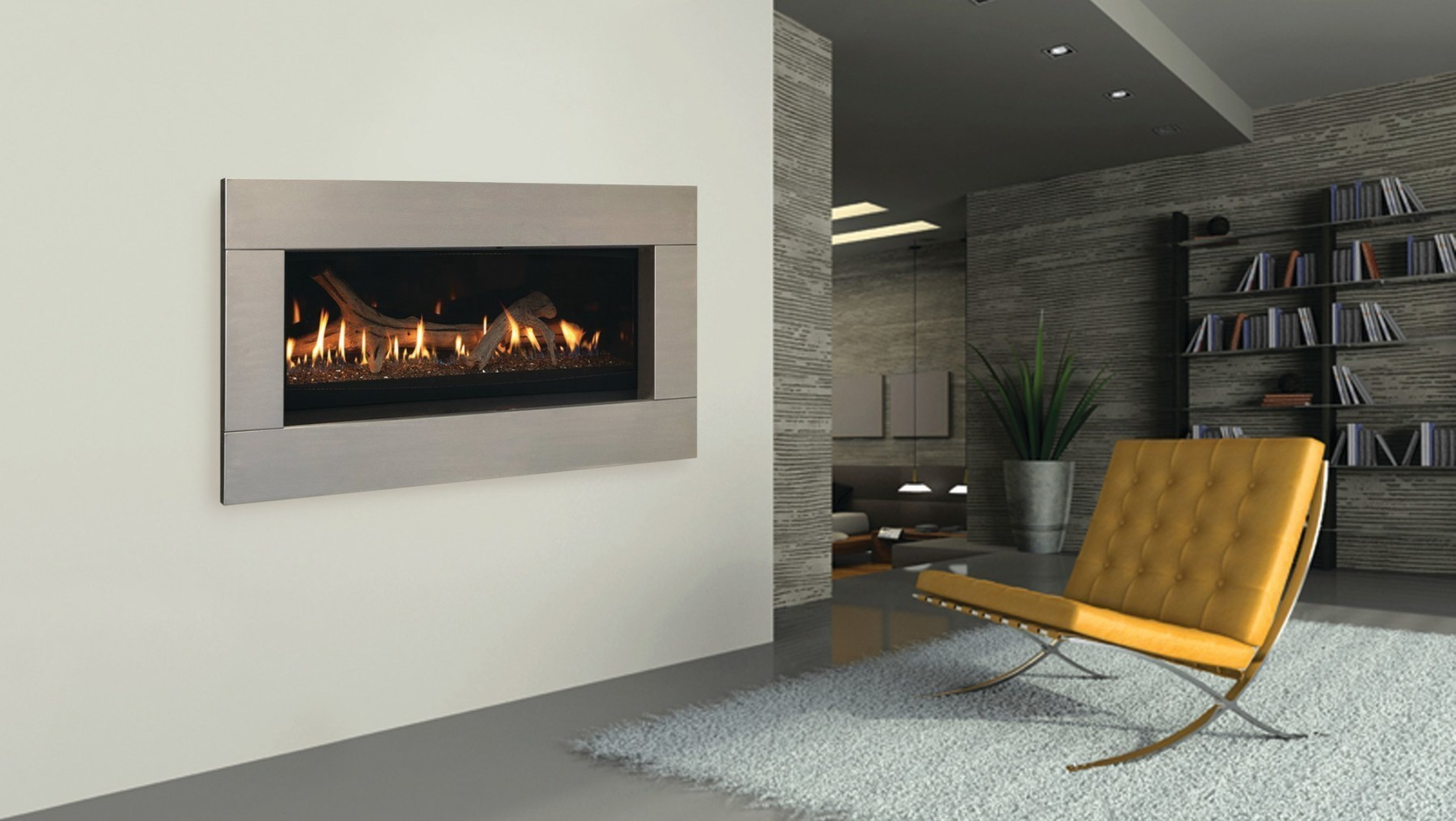 Featuring ultra-contemporary styling, the Majestic Echelon lets homeowners view the beautiful ribbon flame from almost any angle. Available in single-sided or see-through models, versatile installation options make it the only see-through linear fireplace that can be installed on an exterior wall.
