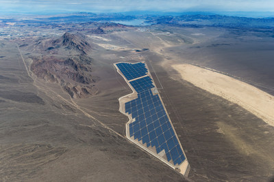 An aerial view of Sempra U.S. Gas & Power and Consolidated Edison Development's 250-megawatt (MW) Copper Mountain Solar 3 facility located outside of Boulder City, Nev.