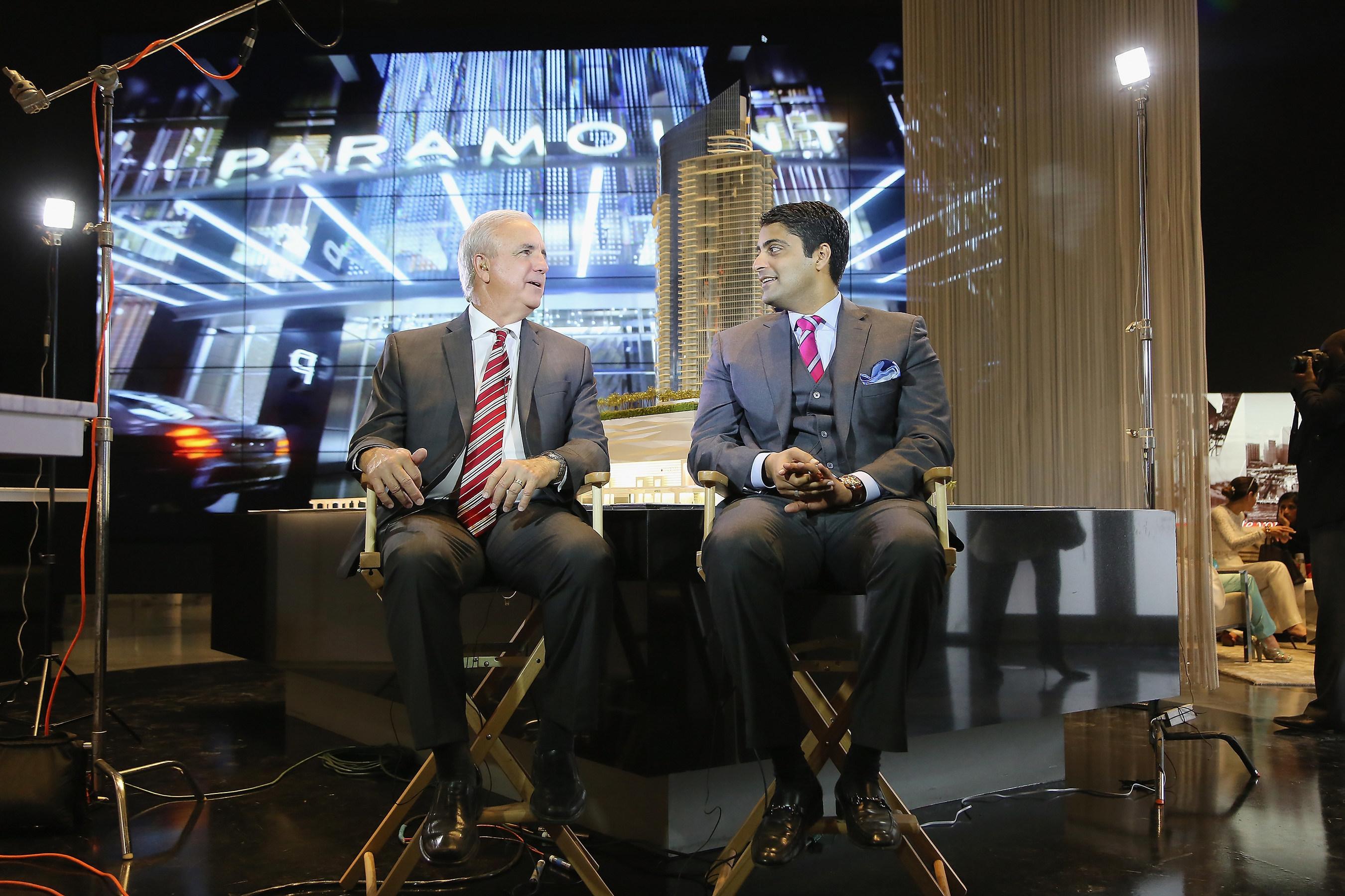 Miami-Dade Mayor Carlos Gimenez and Master Developer Nitin Motwani in Paramount Miami Worldcenter Sales Center on Ground Breaking Day Preparing for FOX News Live Satellite Interview (Credit: World Satellite TelevisionNews).