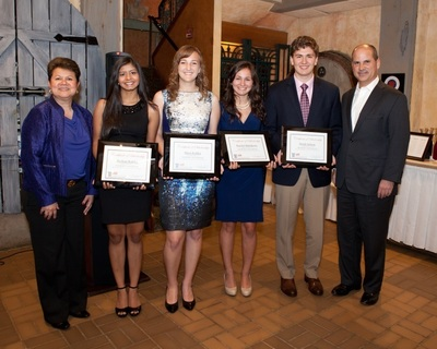 Carlos A. Rodriguez, president and chief executive officer of ADP® (far right), recently announced the winners of the ADP Henry Taub Scholarship Award. Pictured here, beginning second from left, are: Shohini Rakhit, Myra Kohler, Rachel Matthews, and Derek Nelson.  At far left is Rita Mitjans, ADP's Chief Diversity and Corporate Social Responsibility Officer.  Not pictured here is the one additional scholarship recipient, Sanjay Velappan.