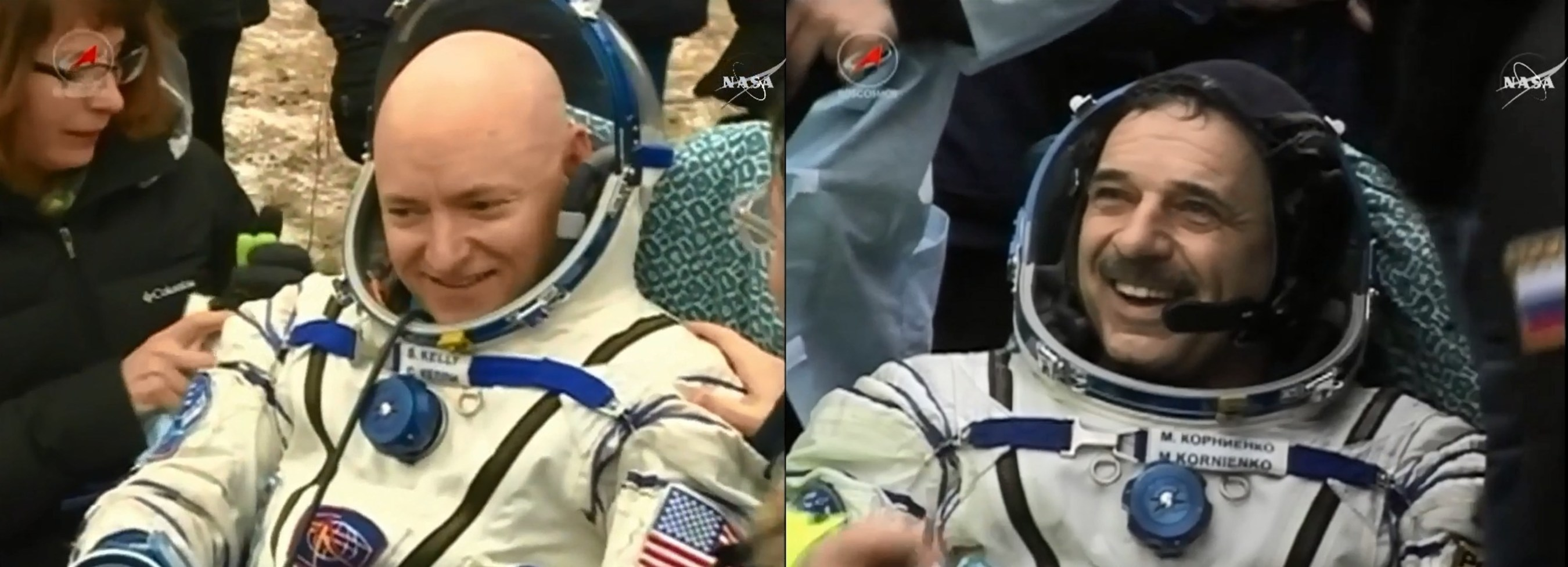 NASA astronaut and Expedition 46 Commander Scott Kelly and his Russian counterpart Mikhail Kornienko returned to Earth Tuesday after a historic 340-day mission aboard the International Space Station. They landed in Kazakhstan at 11:26 p.m. EST (10:26 a.m. March 2 Kazakhstan time).