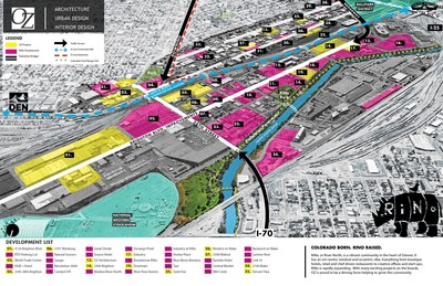 RiNo Denver expansion map shows OZ Architecture designs dominating the landscape. The company is both located in RiNo and is driving a significant part of the area's transformation.