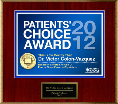 Dr. Colon-Vazquez of Caguas, PR has been named a Patients' Choice Award Winner for 2012.  (PRNewsFoto/American Registry)