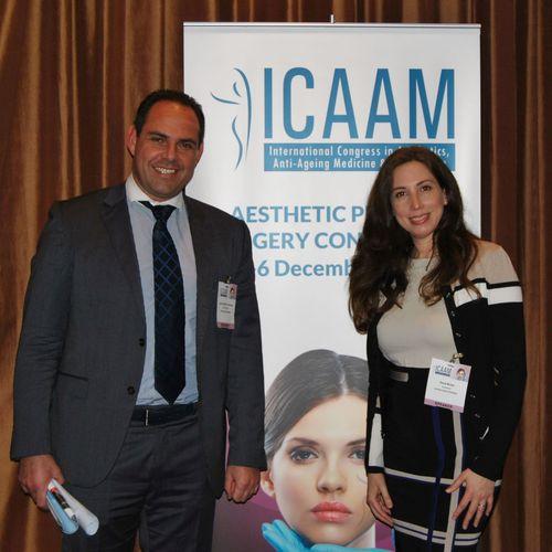 Randa Modad with Dr. Michael Salivaras, Chairman of ICAAM 2014 (PRNewsFoto/BrandAid PR)