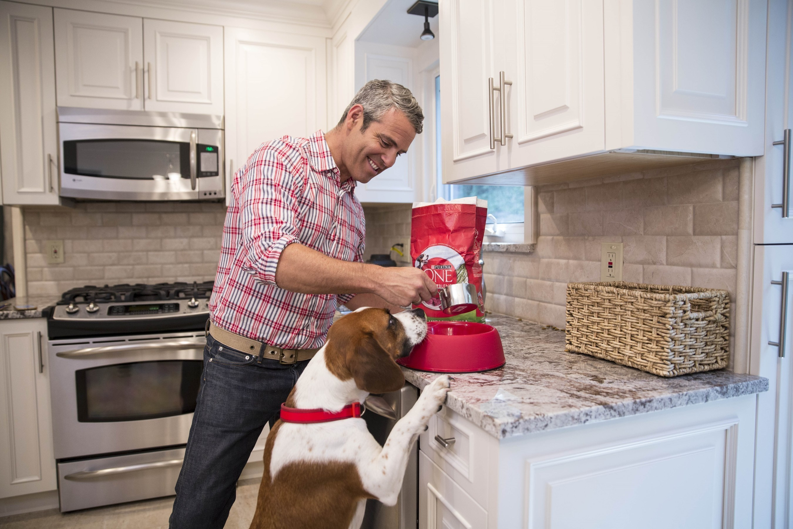 Television host Andy Cohen feeds his rescue dog Wacha Purina ONE dog food as part of Purina ONE's 28 Day Challenge. Andy is teaming up with Purina ONE to support the ONE Difference initiative which celebrates the difference shelter-led educational programs can make in the lives of both students and shelter dogs.