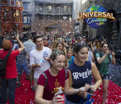 Universal Orlando Resort officially opened The Wizarding World of Harry Potter – Diagon Alley today, July 8, at Universal Studios Florida. Universal Orlando welcomed thousands of excited guests into the spectacularly themed land for the very first time with confetti, fireworks and a red carpet lined with dozens of cheering Diagon Alley team members. More details are available at www.UniversalOrlando.com/wizardingworld.