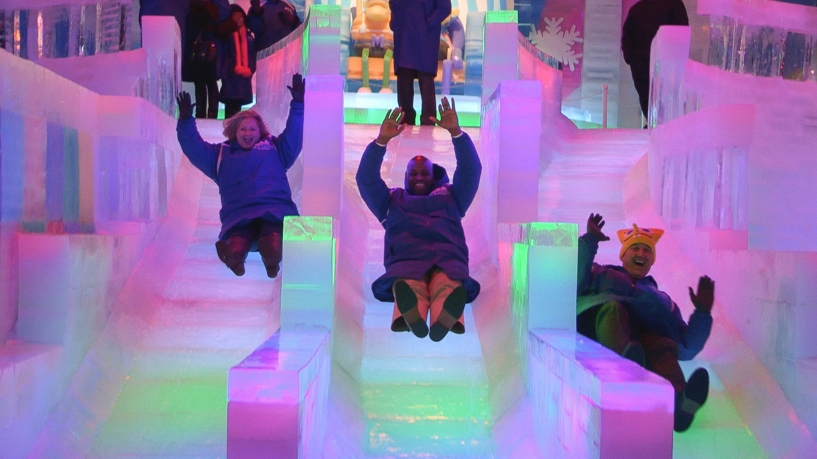 The highly anticipated ICE LAND Ice Sculptures with SpongeBob SquarePants opened Saturday at Moody Gardens, ...