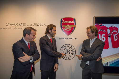 JEANRICHARD Managing Director Bruno Grande, Arsenal Legend Robert Pires and the club's CCO Tom Fox (from ...