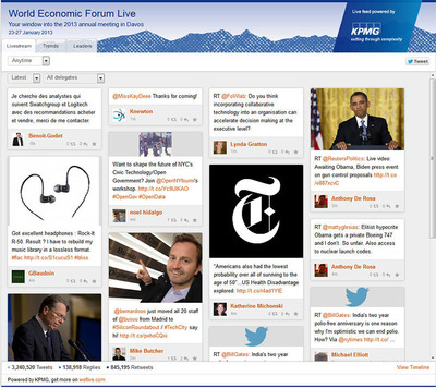 As part of the WEFlive.com site, KPMG International provides widgets that you can customize and embed on your website or blog. Widgets can be customized by content filters and visual treatment (e.g. font style, color, table borders), and are available in three sizes for different areas of your site. Contact digital@kpmg.com if you are interested in placing one on your site.