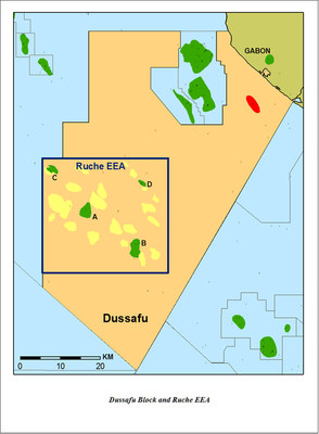 DUSSAFU BLOCK OPERATED BY HARVEST NATURAL RESOURCES, INC. OFFSHORE GABON WITH RECENTLY AWARDED RUCHE EEA (EXCLUSIVE EXPLOITATION AUTHORIZATION) (PRNewsFoto/Harvest Natural Resources, Inc.)