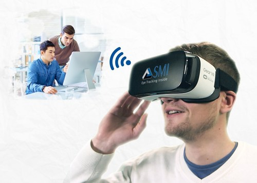 MI Mobile Eye Tracking HMD brings eye tracking to the Samsung Gear VR. (PRNewsFoto/SensoMotoric Instruments)