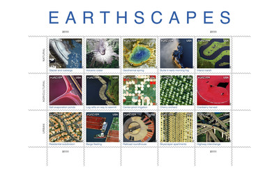 Americans will be on cloud nine celebrating October as National Stamp Collecting Month with the issuance of the Earthscapes Forever stamps.  Depicting America's diverse landscapes on photos taken from ultra lights to satellites, the Earthscapes stamps provide a view of the nation's diverse landscapes in a whole new way - from heights ranging from several hundred feet above the earth to several hundred miles in space. The stamps are now available at usps.com/shop, or by calling 800-STAMP24.  (PRNewsFoto/U.S. Postal Service)