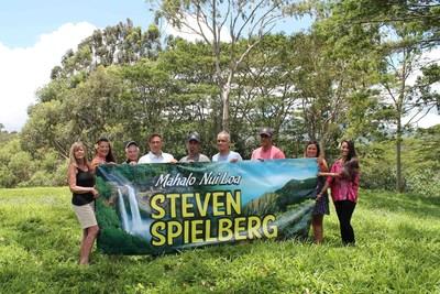 Kauai residents show their appreciation to Steven Spielberg at Jurassic Kahili Ranch on Kauai, (l-r) Linda Graham, Sherri Ephan, Michael Gregg, Sean Garcia, Randall Cremer, Steve Rodrigues, Solomon Kanoho, Molly McGee and Veronica Pablo.