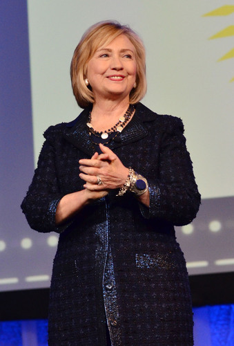 Former Secretary of State Hillary Rodham Clinton speaks on stage at the Pennsylvania Conference for Women 2013 at the Philadelphia Convention Center on November 1, 2013 in Philadelphia, Pennsylvania.  (PRNewsFoto/Pennsylvania Conference for Women, Lisa Lake/Getty Images)