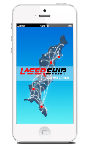 Splash screen taken from 'LaserShip' mobile phone app available on Apple App Store and the Android Market.  (PRNewsFoto/LaserShip Inc.)