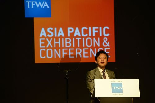 Andrew Wu, LVMH Group President, Greater China addresses delegates at TFWA Asia Pacific Exhibition & Conference 2015. (PRNewsFoto/TFWA)