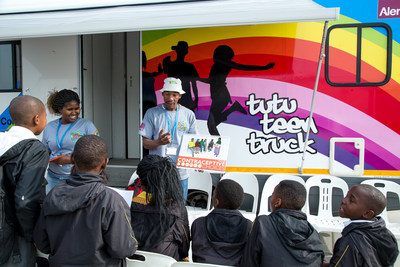 Health educators from the Desmond Tutu HIV Foundation at the launch of the Tutu Teen Truck, a new mobile unit providing HIV and other screening services to at-risk youth in Cape Town.