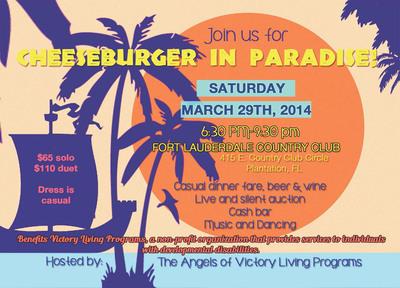 Cheeseburger in Paradise. (PRNewsFoto/Victory Living Programs) (PRNewsFoto/VICTORY LIVING PROGRAMS)