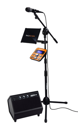 """Singtrix, the most exciting singing experience ever created. The Singtrix bundle includes the Singtrix """"Studio"""" vocal effects unit, custom microphone, professional mic stand and 2.1 Stereo Speaker System, and is available for purchase today at Singtrix.com. (PRNewsFoto/Singtrix) (PRNewsFoto/SINGTRIX)"""