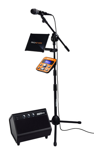 "Singtrix, the most exciting singing experience ever created. The Singtrix bundle includes the Singtrix ""Studio"" vocal effects unit, custom microphone, professional mic stand and 2.1 Stereo Speaker System, and is available for purchase today at Singtrix.com. (PRNewsFoto/Singtrix)"