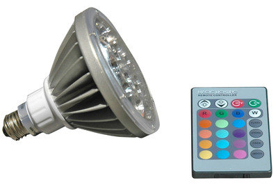 The Magnalight LED18W-PAR38-RGB 18 Watt RGB LED PAR 38 Remote Control Light is designed to fit in standard light bulb sockets but provides durability and multi-color adjustability that makes it ideal for industrial and commercial applications. This 18 watt LED light offers 16 color settings, remote control operation, and the efficiency, durability and long life of LED operation.  (PRNewsFoto/Larson Electronics)