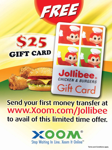 Jollibee and Xoom poster featuring limited time offer.  (PRNewsFoto/Xoom Corporation)