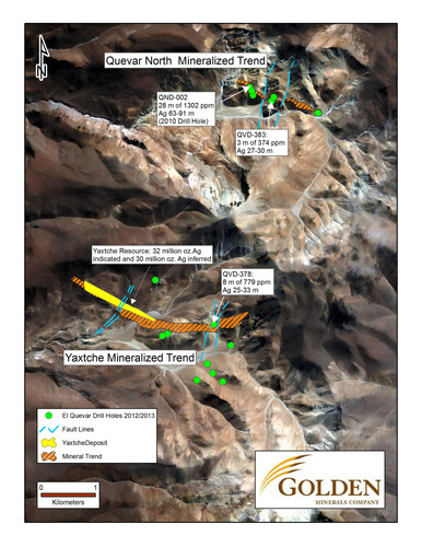 Golden Minerals Reports Possible Extensions Of Mineralized Zones At El Quevar, Salta, Argentina.  (PRNewsFoto/Golden Minerals Company)