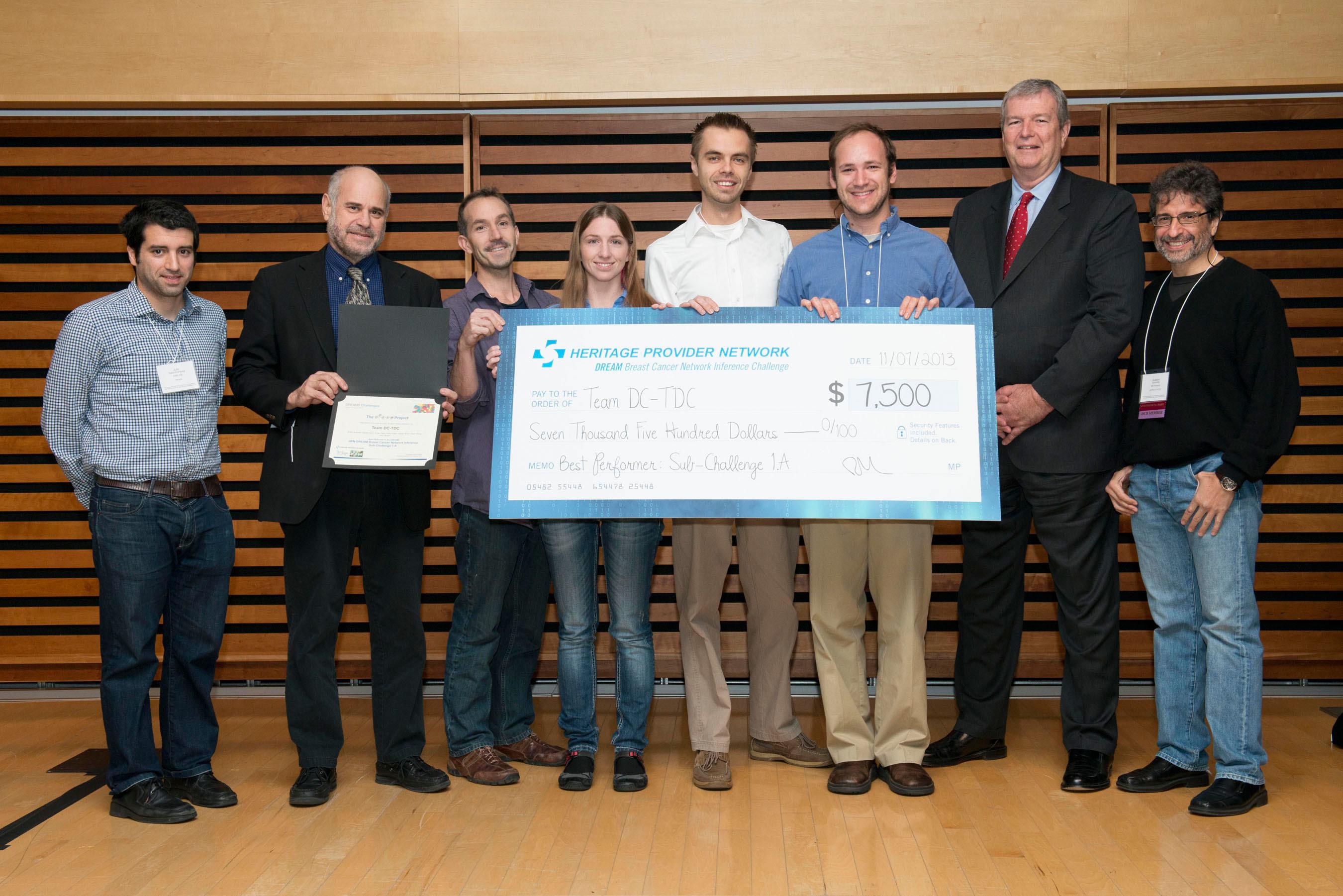 Team DC-TDC receives award in HPN-Dream Prize, Julio Saez-Rodriguez, EMBL, UK, Dan Gallagan, NCI, Josh Stuart, Kiley Graim, Artem Sokolov, Team Leader, Dan Carlin, Mark Wagar, President Heritage Medical Systems and Gustavo Stolovitzky, IBM and Dream Founder. (PRNewsFoto/Heritage Provider Network) (PRNewsFoto/HERITAGE PROVIDER NETWORK)