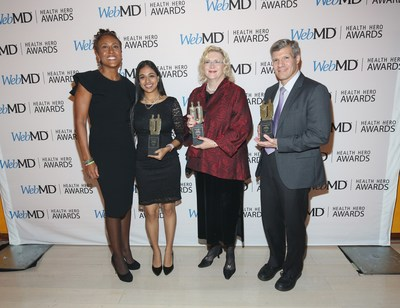 Caption: WebMD Health Hero Awards host Robin Roberts, Prodigy Award recipient Trisha Prabhu, Advocate Award recipient Betty Ferrell, RN, PhD and Scientist Award recipient Ed Damiano, PhD attend the 2016 WebMD Health Heroes Awards on November 3, 2016 in New York City.