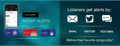 Futuri Media's patent Instant Alert feature sends radio listeners e-mails, text, and tweets when their favorite songs are about to play on the air. Nielsen Audio reports positive correlations between stations using Instant Alerts and broadcast ratings increases.
