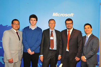 Team captains from the Microsoft Imagine Cup Grants winning teams (from left) Gerardo Francisco Perez Layedra from Ecuador, Dominik Tomicevic from Croatia, Mohammad Azzam from Jordan and Jason Wakizaka from the United States pose with Bill Gates on Friday, January 27, 2012. The grant recipients joined Bill Gates for a roundtable discussion on opportunity for youth at the World Economic Forum Annual Meeting in Davos, Switzerland.  (PRNewsFoto/Microsoft Corp.)