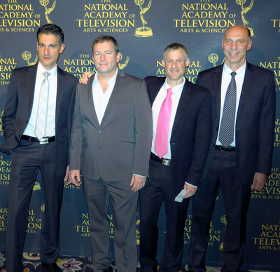 Part of Valens' senior management team attended the 67th Technology & Engineering Emmy(R) Award ceremony.  From left to right: Micha Risling, Senior Vice President Marketing & Business Development, Eyran Lida, Chief Technology Officer and Co-founder, Ariel Sobelman, Vice President for Corporate Alliances and HDBaseT Alliance President, and Dror Jerushalmi, CEO and Co-founder.