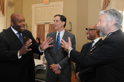 Celebrating a moment in history.  Shown in Photo: (Left to right) Phi Beta Sigma Fraternity, Inc. International President, Jonathan A. Mason, United States Fish and Wildlife Services Director, Dan Ashe, Phi Beta Sigma Fraternity, Inc. Deputy Director, Steve Ballard and United States Fish and Wildlife Services Deputy Director, Rowan Gould. (PRNewsFoto/Phi Beta Sigma Fraternity, Inc.)