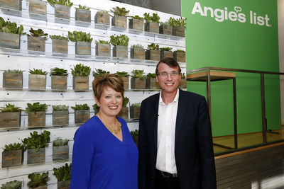 Scott Durchslag, Angie's List CEO and Angie Hicks, Angie's List Founder and CMO announce that the site is now free to join at an official launch event on Tuesday, July 12, 2016, in New York. This change allows  unparalleled access to the more than 10 million verified reviews on home service professionals that Angie's List has amassed over its 21 year history - more than double its nearest competitor. (Jason DeCrow/AP Images for Angie's List)