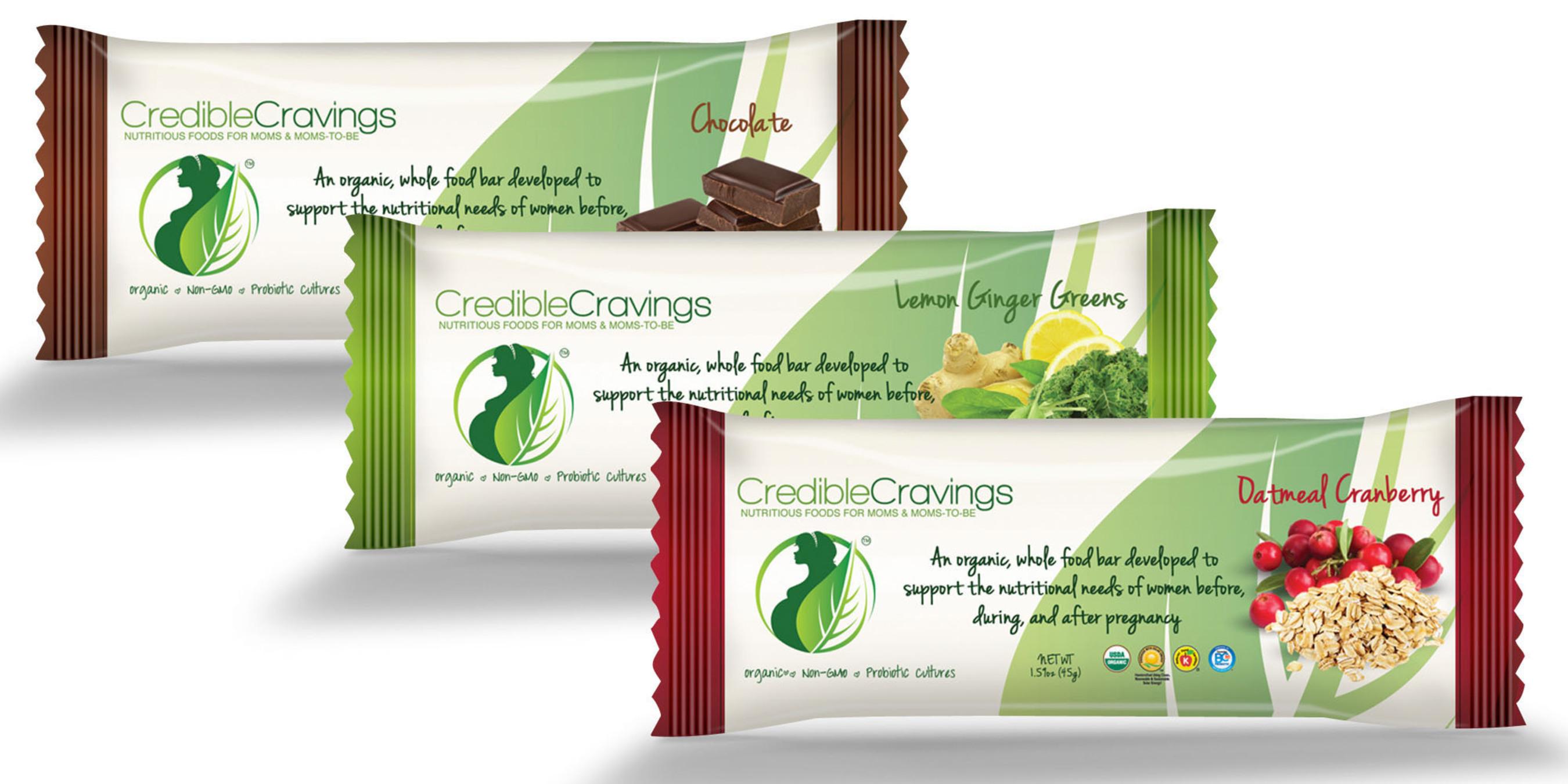 CredibleCravings debuts its bars in three flavor varieties: Oatmeal Cranberry, Chocolate, Lemon Ginger Greens.   (PRNewsFoto/CredibleCravings)