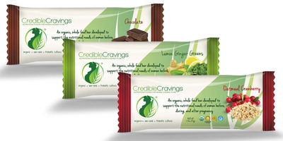 CredibleCravings debuts its bars in three flavor varieties: Oatmeal Cranberry, Chocolate, Lemon Ginger Greens.   (PRNewsFoto/CredibleCravings)