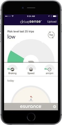 New DriveSense for mobile from Esurance displays driving risk meter.